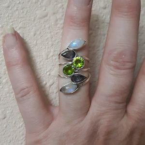 Rainbow Moonstone and Topaz, Peridot Silver Ring.